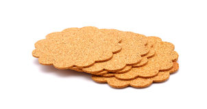 Cork coasters. Isolated on a white background stock photo
