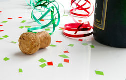 Cork and confetti Stock Images