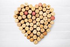 Cork. Wine heart shape valentine`s day love bottle backgrounds Royalty Free Stock Photos