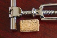Cork with corkscrew Stock Photos