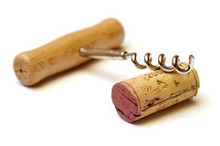 Cork and corkscrew Royalty Free Stock Photography
