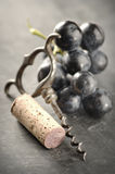 Cork, corkscrew and red grapes. Cork,corkscrew and red grapes on gray background Stock Photography