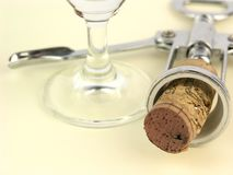 Cork and empty glass Royalty Free Stock Images