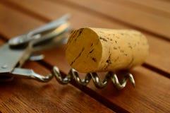 Cork en kurketrekker Royalty-vrije Stock Afbeeldingen