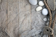 Cork, fishing net and rope Stock Photos