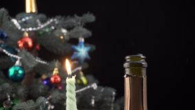 A cork flies out of champagne bottle stock video footage