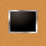 Cork frame. Cork board wall with silver bevel frame and blank image holder Stock Photography