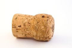 Cork. Frm the champagne wine on the white background royalty free stock photos