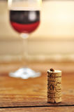 Cork and glass of italian red wine Stock Photo