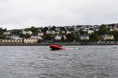 A Cork Harbour Boat Hire boat, a company for hiring out self drive boats to general public all in the safety of Cork Harbour. May 7th, 2018, Cobh, county Cork Stock Images