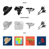 Cork hat, darts, savannah tree, territory map. African safari set collection icons in black, flat, monochrome style. Vector symbol stock illustration Royalty Free Stock Images