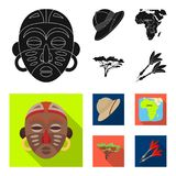 Cork hat, darts, savannah tree, territory map. African safari set collection icons in black, flat style vector symbol Stock Image