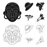 Cork hat, darts, savannah tree, territory map. African safari set collection icons in black,outline style vector symbol. Stock illustration Stock Image