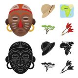 Cork hat, darts, savannah tree, territory map. African safari set collection icons in cartoon,black style vector symbol Royalty Free Stock Photos