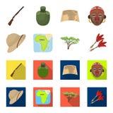 Cork hat, darts, savannah tree, territory map. African safari set collection icons in cartoon,flat style vector symbol. Stock illustration Stock Image