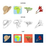Cork hat, darts, savannah tree, territory map. African safari set collection icons in cartoon,outline,flat style vector. Symbol stock illustration Royalty Free Stock Photo