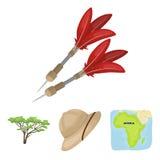 Cork hat, darts, savannah tree, territory map. African safari set collection icons in cartoon style vector symbol stock Stock Photography