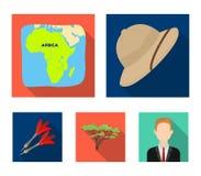 Cork hat, darts, savannah tree, territory map. African safari set collection icons in flat style vector symbol stock. Illustration Royalty Free Stock Photo