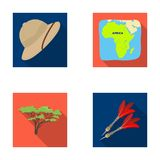 Cork hat, darts, savannah tree, territory map. African safari set collection icons in flat style vector symbol stock Royalty Free Stock Images