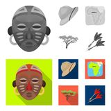 Cork hat, darts, savannah tree, territory map. African safari set collection icons in monochrome,flat style vector. Symbol stock illustration Stock Image