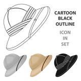 Cork hat from the sun.African safari single icon in cartoon style vector symbol stock illustration web. Stock Photography