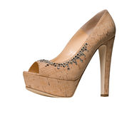 Cork high heeled sandals Stock Image