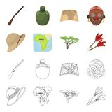 Cork hoed, pijltjes, savanneboom, de kaart van het grondgebied De Afrikaanse pictogrammen van de safari vastgestelde inzameling i Stock Afbeelding