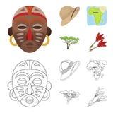 Cork hoed, pijltjes, savanneboom, de kaart van het grondgebied De Afrikaanse pictogrammen van de safari vastgestelde inzameling i Stock Foto