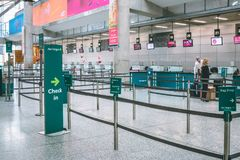 Cork International Airport: Aer Lingus check in area. February 10th, 2018, Cork, Ireland - Cork International Airport: Aer Lingus check in area royalty free stock images