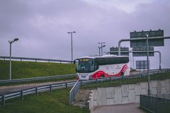 Cork International Airport: bus arriving at the airport. February 10th, 2018, Cork, Ireland - Cork International Airport: bus arriving at the airport stock images