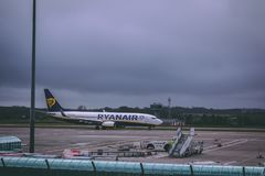 Cork International Airport: Ryanair airplane arriving. February 10th, 2018, Cork, Ireland - Cork International Airport: Ryanair airplane arriving royalty free stock images