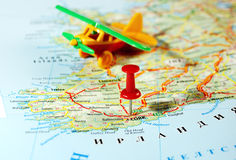 Cork Ireland, avião do mapa de Reino Unido Foto de Stock
