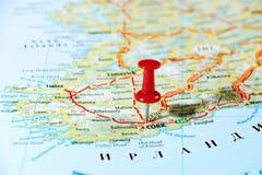 Cork Ireland, mapa de Reino Unido Imagens de Stock