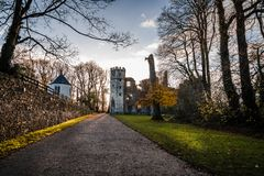 Castle of Mallow and gardens at sunrise. Cork, Ireland - November 12, 2017: Castle of Mallow and gardens. Scenic view at sunrise in Autumn with no people Stock Photos