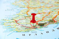 Cork  Ireland  ,United Kingdom  map Stock Images