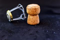 Cork and lid of a bottle of champagne royalty free stock photos