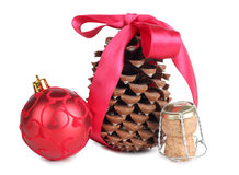Cork and new year ball Royalty Free Stock Image