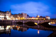 Cork at Night. The north channel River Lee and St Patrick's Bridge Royalty Free Stock Image