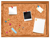 Cork notice board. With stationery isolated on white background Royalty Free Stock Photography