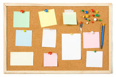 Cork notice board. With blank sticky notes Royalty Free Stock Images