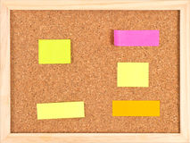 Cork notice board with colorful stickeres Stock Images