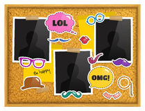Cork notice board with photo frames, patches or stickers, sticky notes and scotch tape. Vector. Cork notice board with photo frames, patches or stickers, sticky Stock Photos