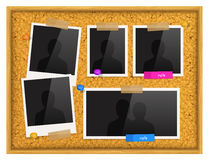 Cork notice board with photo frames, push pins and scotch tape. Vector. Royalty Free Stock Images