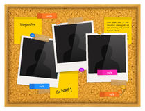 Cork notice board with photo frames, sticky notes, push pins and scotch tape. Vector. Royalty Free Stock Images
