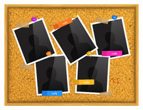 Cork notice board with photo frames, sticky notes, push pins and scotch tape. Vector. Stock Photography