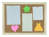 Cork notice board with stick note, paper, pin Stock Photo