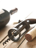 Cork Opener. A closeup view of cork and a cork opener Stock Photo