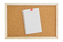 Cork Pin Board  with a sheet of paper. Stock Photos