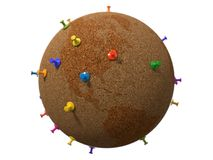 Cork plated, pinboard style earth globe. 3d illustration Stock Images