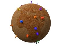 Cork plated, pinboard style earth globe. 3d illustration Stock Photo